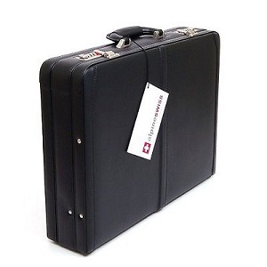 Alpine Swiss Expandable leather attaches dual lock briefcase