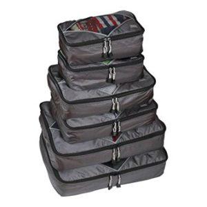 Rusoji Premium Packing Cube Travel Luggage Organizers – 6pc Various Size Set