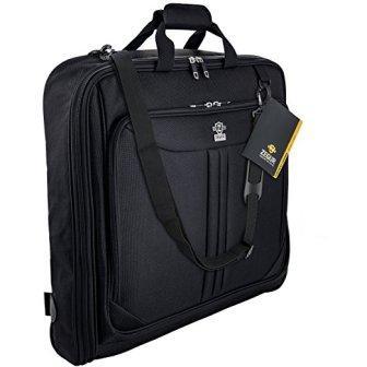 ZEGUR 40-Inch 3 Suit Carry On Garment Bag for Travel or Business Trips – Features an Adjustable Shoulder Strap and Multiple Organization Pockets – Black