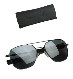 e6c20a21ca American Optical Original Pilot Eyewear 52mm Black Silver Frame with Bayonet  Temples