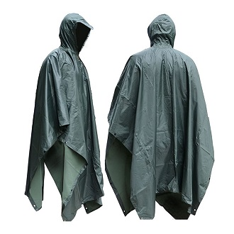 ADULT HOODED PONCHO Walking Hiking Rain Cover ONE SIZE Rain Water Proof Coat