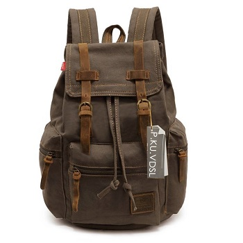 52dfa11daa VDSL-AUGUR SERIES Vintage Canvas Leather Backpack