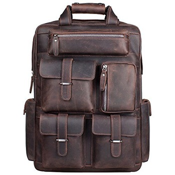 S-ZONE Vintage Crazy Horse Genuine Leather Backpack a12ba90f19c98