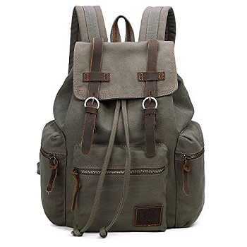 61c28cd8db Vintage Canvas Backpack Outdoor Hiking Travel Rucksack 19L