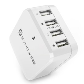 5.USB Charger Plug Syncwire 34W 4-Port USB Wall Charger