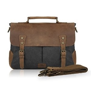 dfcd8d13b Smriti Vintage Real Leather Canvas Messenger Bag 14-inch Laptop Briefcase.  Canvas Briefcases for Men