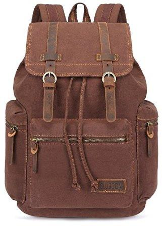 480894414 It has interior pockets everywhere BLUBOON Canvas Vintage Backpack Leather  Casual Bookbag