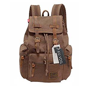 Canvas Backpack, P.KU. VDSL-AUGUR SERIES Vintage Canvas Leather Backpack