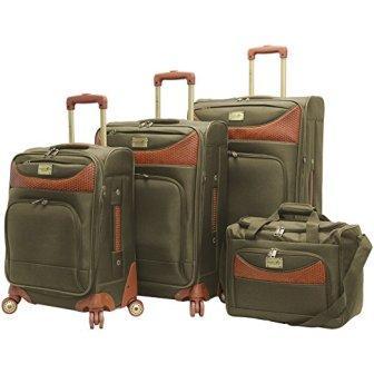 Caribbean Joe Castaway 4-Piece Spinner Luggage Set (Olive)