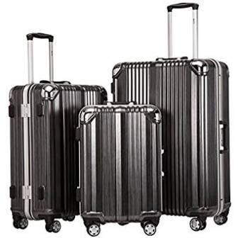 Coolife Luggage Aluminium Frame Suitcase 3 Piece Set