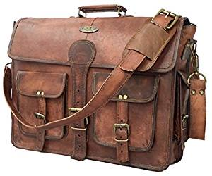 DHK 18 Inch Vintage Handmade Leather Messenger Bag