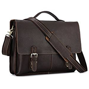 Kattee Leather Twin Buckle Men's Messenger Bag, Dark Brown, Medium