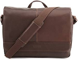 "Kenneth Cole Reaction ""Risky Business"" Colombian Leather Flapover Cross Body Messenger Bag, Brown, One Size"