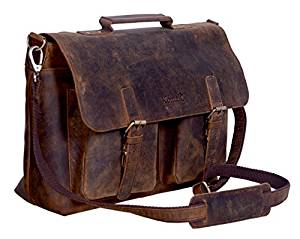 KomalC 15 Inch Flap Retro Buffalo Hunter Leather Laptop Messenger Bag Office Briefcase College Bag for