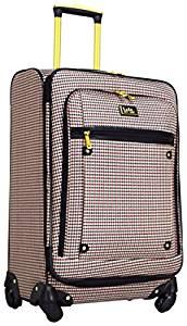 Nicole Miller Taylor 24″ Expandable Spinner Suitcase (Black/Burgundy Plaid)