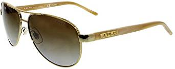 Ralph by Ralph Lauren Women's 0ra4004 Polarized Aviator Sunglasses, Gold Cream, 59.0 mm