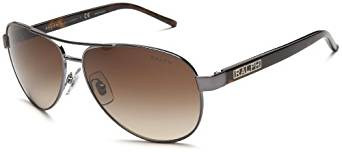 Ralph by Ralph Lauren Women's RA4004 Aviator Sunglasses, Grey, Grey Horn & Brown Gradient, 59 mm