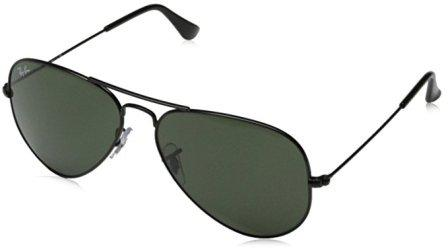 Ray-Ban 0RB3025 Aviator Metal Non-Polarized Sunglasses, Black/Grey Green, 58mm