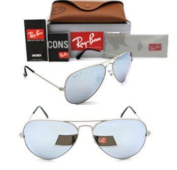 bcbbabb2336 Ray-Ban Aviator RB 3025 019 W3 58mm Matte Silver Polarized Silver Mirror  L642c