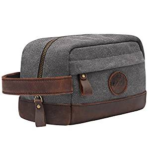 This bag will meet all S-ZONE Vintage Leather Canvas Toiletry Bag Shaving Dopp Case Makeup Bag