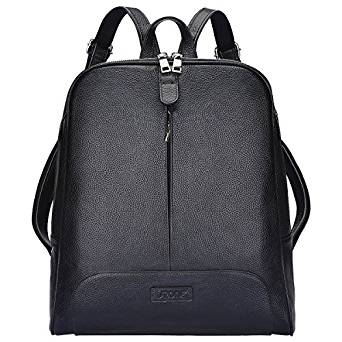 S-ZONE Women Genuine Leather Backpack Purse Travel Bag Fit 14-inch Laptop