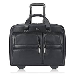 Solo Franklin Premium Leather 15.6-Inch Rolling Laptop Case
