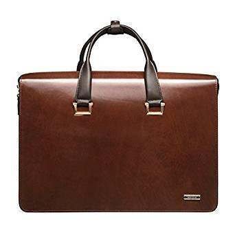 Teemzone Men Genuine Leather Business Laptop Case