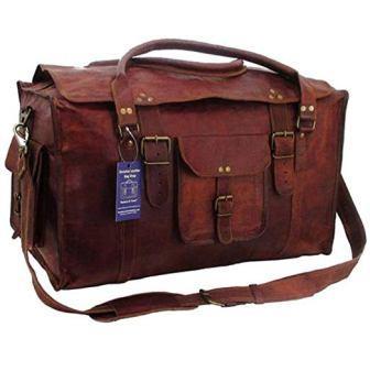 ... Tom   Clovers 21 Inch Retro Flap Leather Duffel Bag 9abbed4b39967