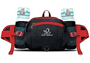 WATERFLY Fanny Pack with Water Bottle Holder Hiking Waist Pack