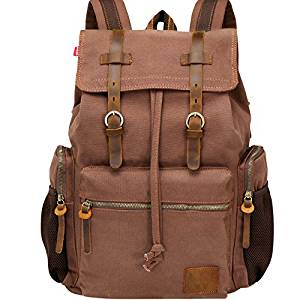 Wowbox 17.3 Inch Laptop Canvas Backpack Unisex Vintage Leathe