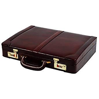 Zint Men's Genuine Leather Hard Briefcase Attaché