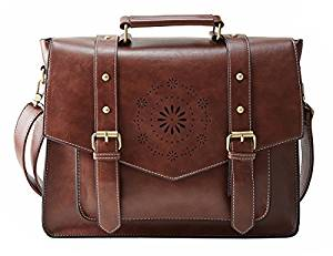 ECOSUSI Women's Retro PU Leather 14″ Laptop Crossbody Briefcase Messenger Bags, Brown