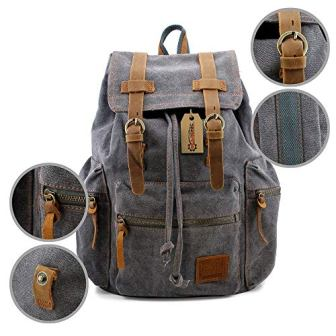 ... Gearonic TM 21 L Vintage Canvas Backpack for Men Faux Leather Rucksack  Knapsack 25dd6f4b0c81e