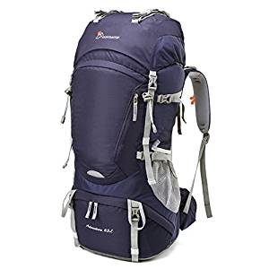 Mountaintop 65L Internal Frame Hiking Backpack with Rain Cover