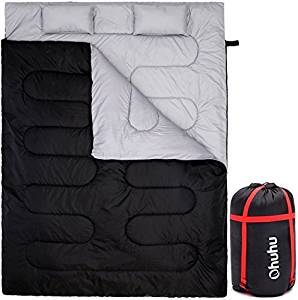 Ohuhu Double Sleeping Bag With 2 Pillows And A Carrying Bag