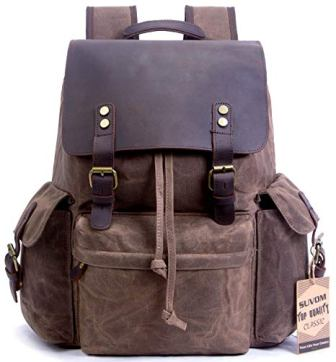 7a0c83ed3c41 ... SUVOM Vintage Canvas Leather Laptop Backpack for Men School Bag