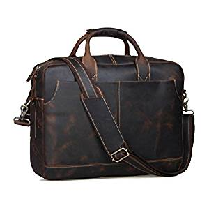 Tembo Genuine Leather Men's Briefcase Messenger Tote Bag Fit 17″ Laptop