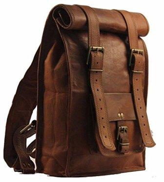 Urban Desire Men's Leather Vintage Roll on Laptop Backpack Rucksack
