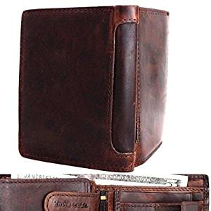 Men's Genuine Oiled Leather Wallet Vintage Italian Natural Skin Coin Money Pocket Purse