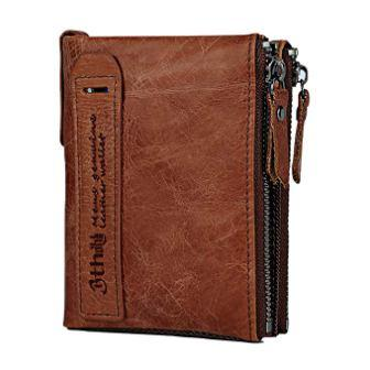 Minimalist Vintage Cowhide Leather Wallet With zipper pocket for men
