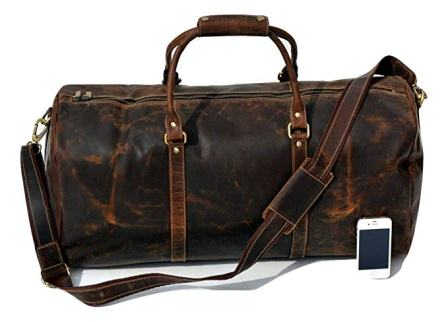 Travel Fashion Style Antique Vintage Stitched Black Leather Suitcase Handle Durable Modeling Furniture