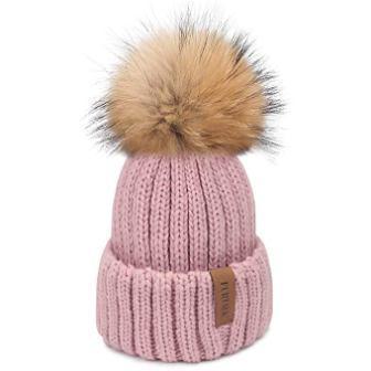 ... literally FURTALK Winter Knit Hat Real Raccoon Fur PomPom Women s Girls Warm  Knit Beanie Hat a41fb7d322bb