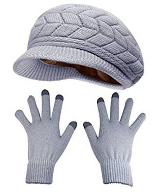 f6734a3d833 This well-made HINDAWI Winter Hats Gloves for Women Knit Warm Ski Outdoor  Caps Touch Screen Mittens