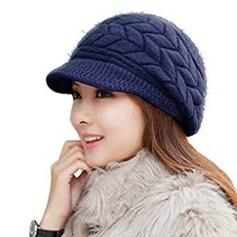 85651a00ce84b1 ... HINDAWI Women Winter Warm Knit Hat Wool Snow Ski Caps with Visor