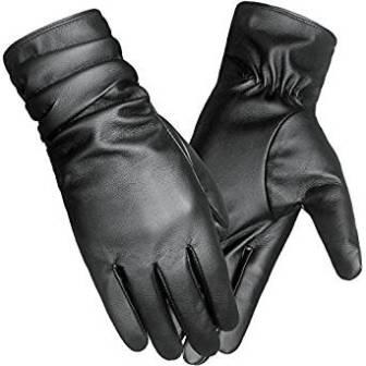 LETHMIK Winter Faux Leather Gloves Women's Driving Touchscreen Long Wrinkle Sleeves