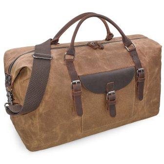 4cd0ff5dbe Oversized Travel Duffel Bag Waterproof Canvas Genuine Leather Weekend bag  ...