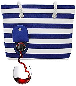 e943eee867 ... PortoVino Beach Tote (Blue   White) – Beach Bag with Hidden