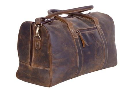 Fashion Style Antique Vintage Stitched Black Leather Suitcase Handle Durable Modeling Travel