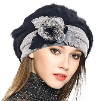 485b5214beb DESIGN   FIT VECRY Lady French Beret 100% Wool Beret Floral Dress Beanie  Winter Hat
