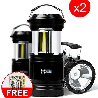 Winner Outfitters 2 Pack/1 Pack Portable Outdoor COB Camping Lantern with LED Flashlight